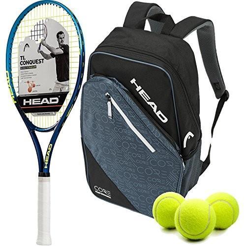 ラケットHEAD Ti.Conquest Pre-Strung Tennis Racquet (Grip Size 4 1/2) bundled with a Core Tennis Grip Size 4 1/2