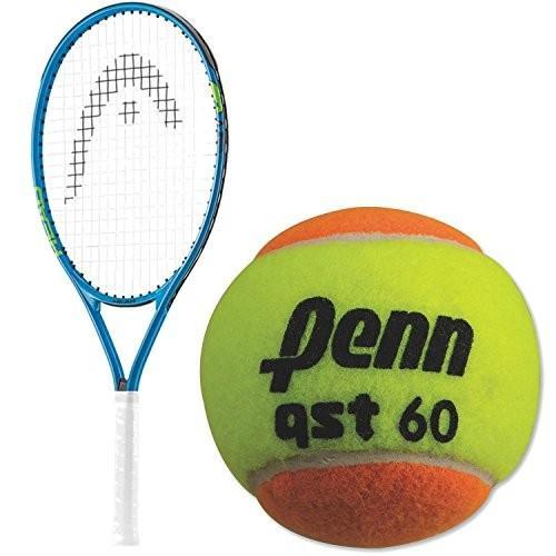 ラケットHEAD Speed 21 Inch Junior Boy's Tennis Racquet bundled with a 12 Pack of Penn QST 60 Ora21 Inch オレンジ Racquet