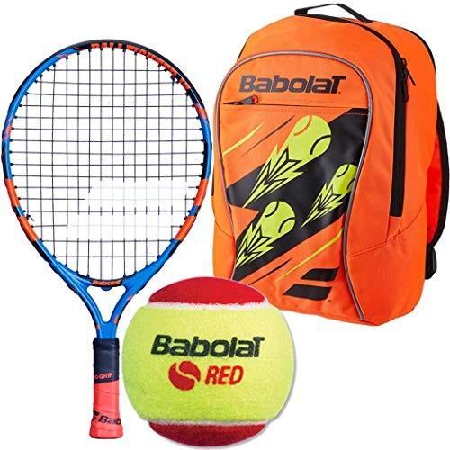 ラケットBabolat Ballfighter 17 Inch Tennis Racquet (青/オレンジ) Bundled with a オレンジ/黒 Chi3 赤 Foam Balls