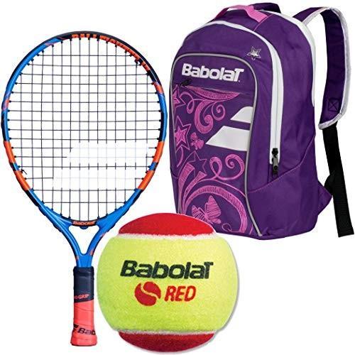 ラケットBabolat Ballfighter 17 Inch Tennis Racquet (青/オレンジ) Bundled with a 紫の/白い Chi3 赤 Foam Balls