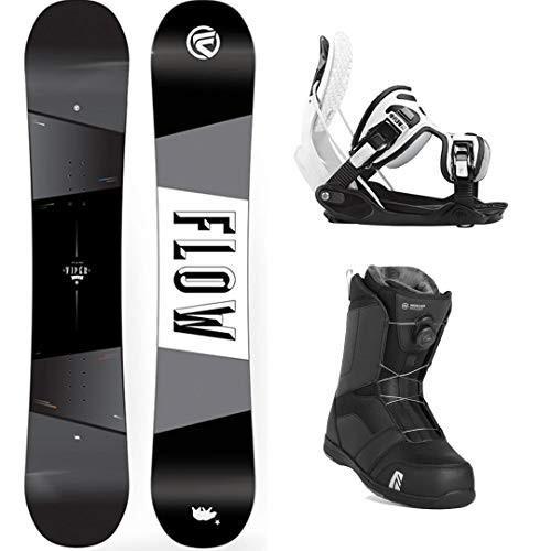 ウィンタースポーツFlow Viper 151cm Men's Snowboard Package Bindings Nidecker BOA Boots (Whi9