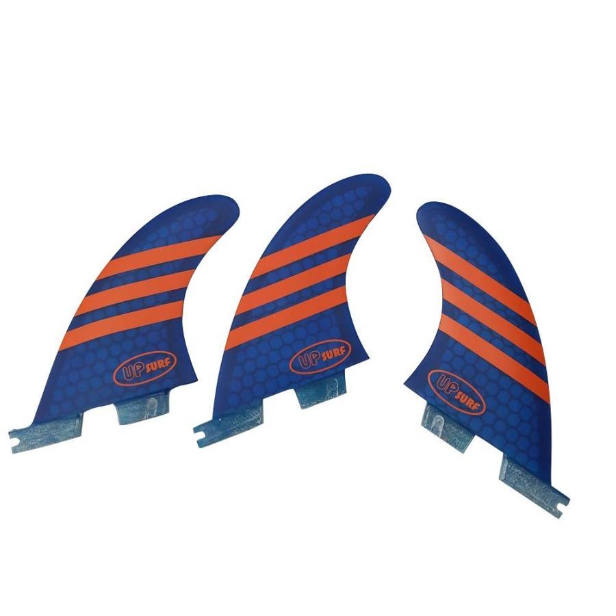 フィンUPSURF Surfboard Tri Fin FCS II M Size Fiberglass+Honeycomb G3/G5/G7 Thruster Set (青 G3)
