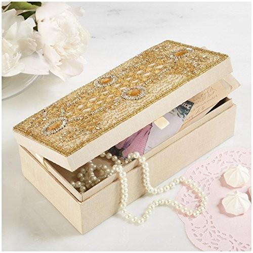 ジュエリーTwo's Company Beaded ゴールド Jewelry Box with MirrorVZR-064