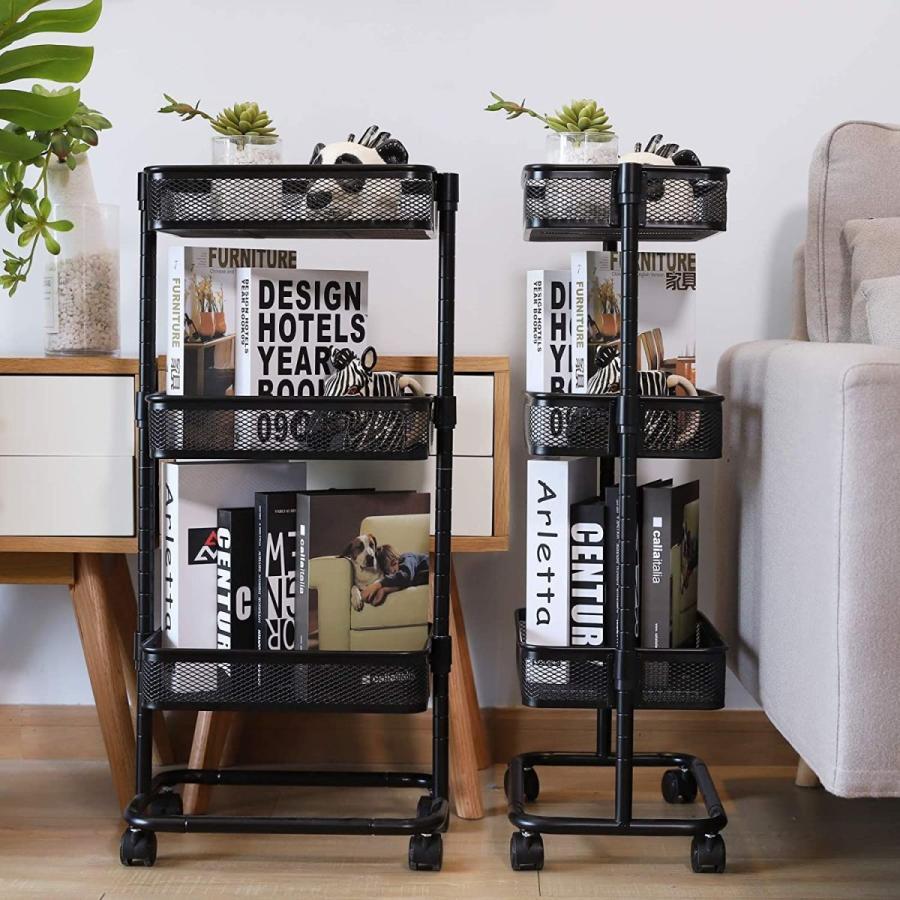LeHom キッチンワゴン 収納 スリム 3段 ベビーワゴン 組立簡単 黒 おしゃれ 北欧 収納ワゴン アイボリー 隙間収納 30kg耐荷重|shop-beautylife|05