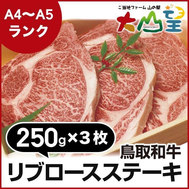 鳥取和牛 リブロース ステーキ 250g×3枚 和牛 リブロース ステーキ A5 A5ランク ステーキ肉 和牛リブロース  牛 内祝    贈答  バーベキュー  キャンプ shop-daisenbou
