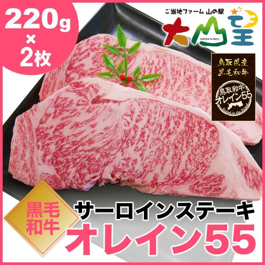 鳥取和牛オレイン55 サーロインステーキ 220g×2枚 和牛 オレイン55 オレイン牛 和牛サーロインステーキ お肉 ギフト 内祝     バーベキュー  キャンプ shop-daisenbou