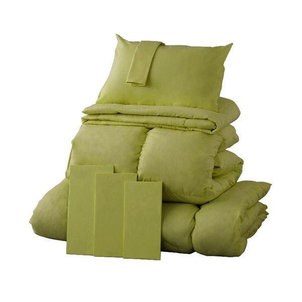 布団8点セット クイーン モスグリーン 9色から選べる シンサレート入り布団 8点セット〔ベッドタイプ〕