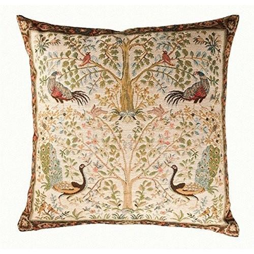 フランス製 ART de LYS William Morris 8689C クリーム Tree ゴブラン織りクッションカバー (50×50c