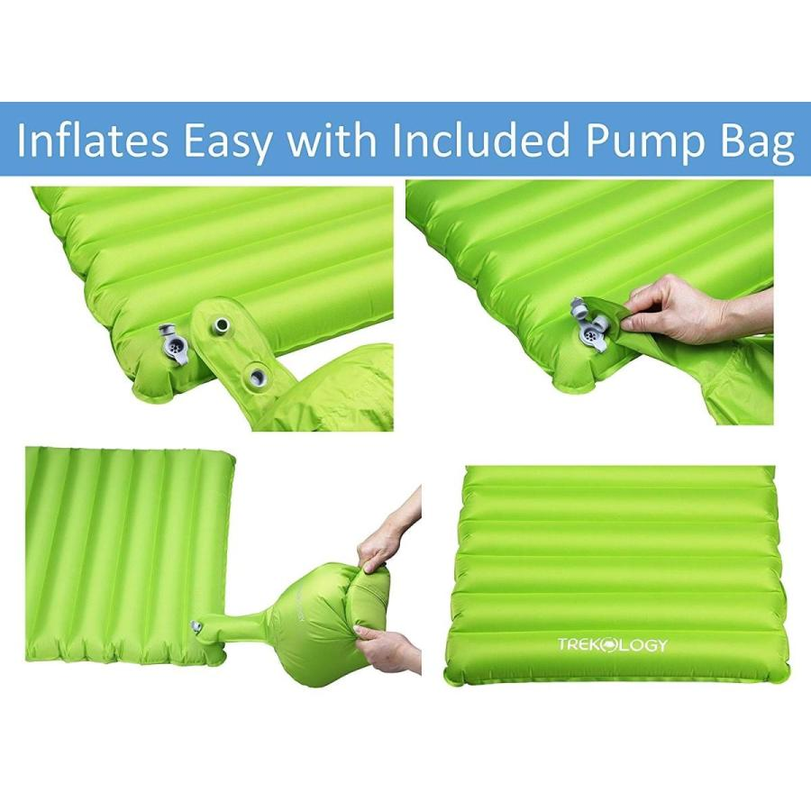 Trekology 超軽量エア睡眠パッド、空気枕とポンプバッグを内蔵した睡眠マット レギュラー 緑