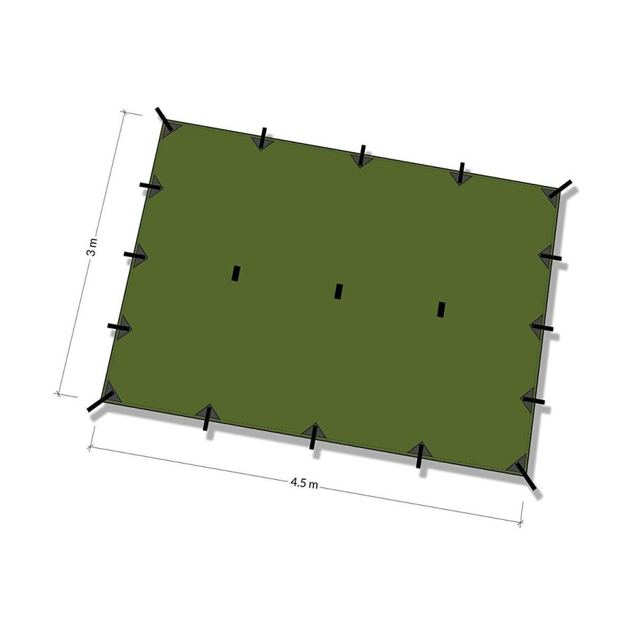 DD Tarp XL 4.5x3 Olive green 英国メーカー直卸 高破断強度 カラビナ付