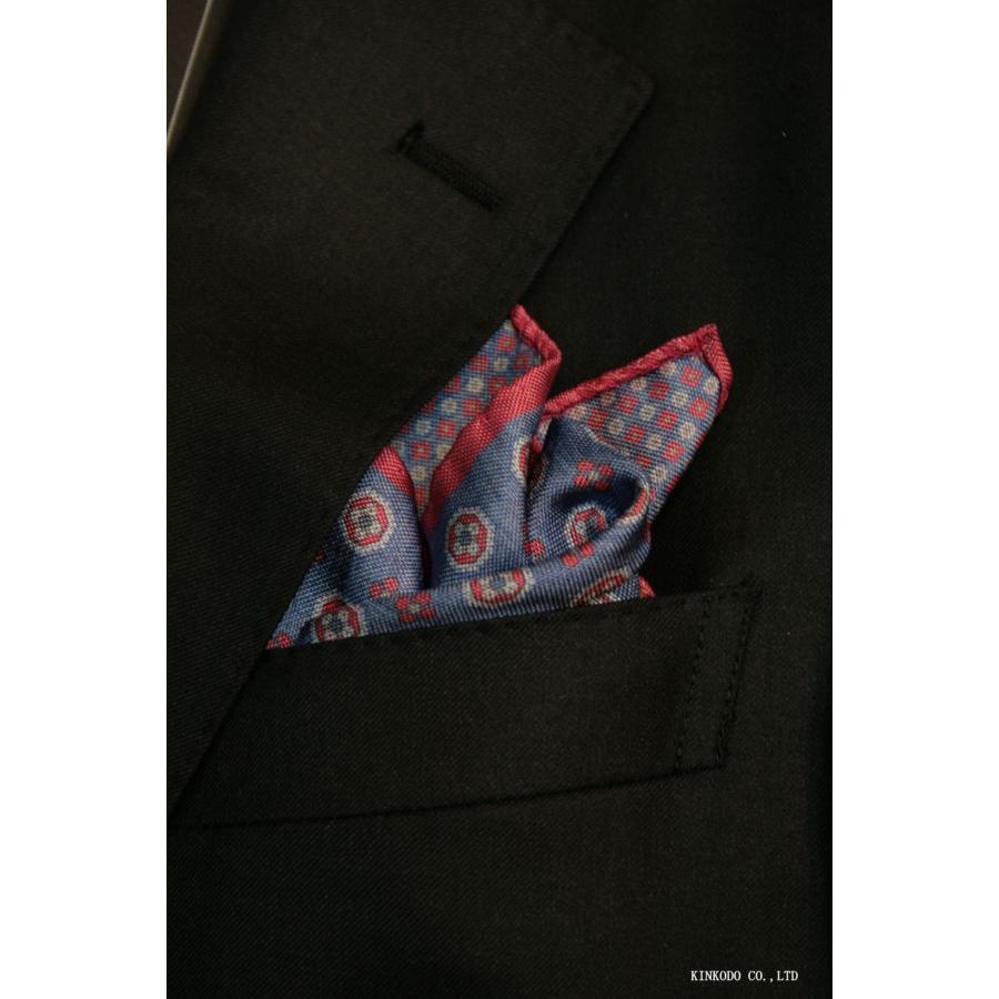 大小の小紋のリバーシブルポケットチーフ赤の縁取りがポイント。 イタリア老舗ネクタイメーカーALBENIアルベニ社製|shop-kinkodo
