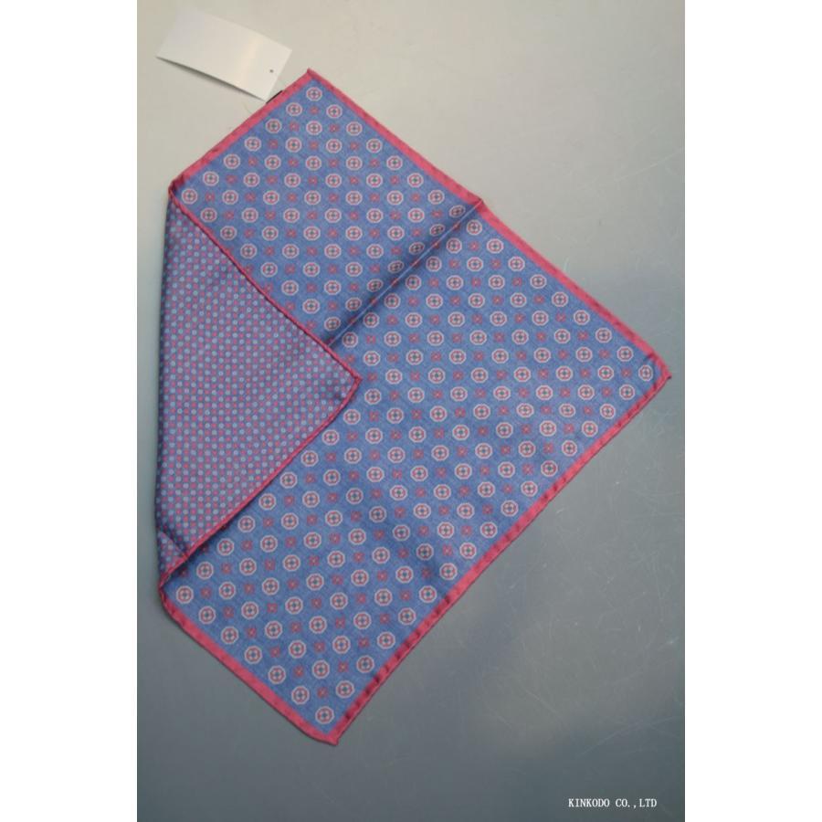 大小の小紋のリバーシブルポケットチーフ赤の縁取りがポイント。 イタリア老舗ネクタイメーカーALBENIアルベニ社製|shop-kinkodo|02