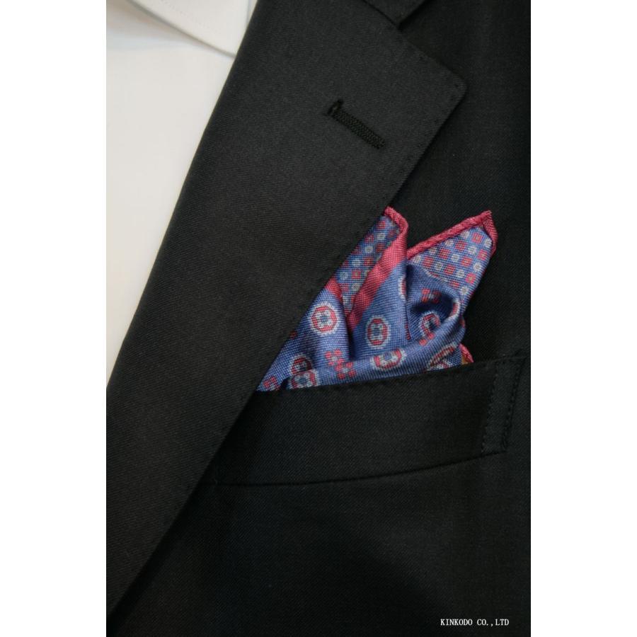 大小の小紋のリバーシブルポケットチーフ赤の縁取りがポイント。 イタリア老舗ネクタイメーカーALBENIアルベニ社製|shop-kinkodo|11