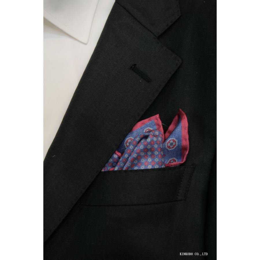 大小の小紋のリバーシブルポケットチーフ赤の縁取りがポイント。 イタリア老舗ネクタイメーカーALBENIアルベニ社製|shop-kinkodo|12