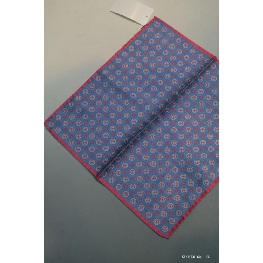 大小の小紋のリバーシブルポケットチーフ赤の縁取りがポイント。 イタリア老舗ネクタイメーカーALBENIアルベニ社製|shop-kinkodo|03