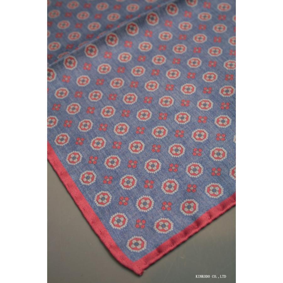 大小の小紋のリバーシブルポケットチーフ赤の縁取りがポイント。 イタリア老舗ネクタイメーカーALBENIアルベニ社製|shop-kinkodo|04