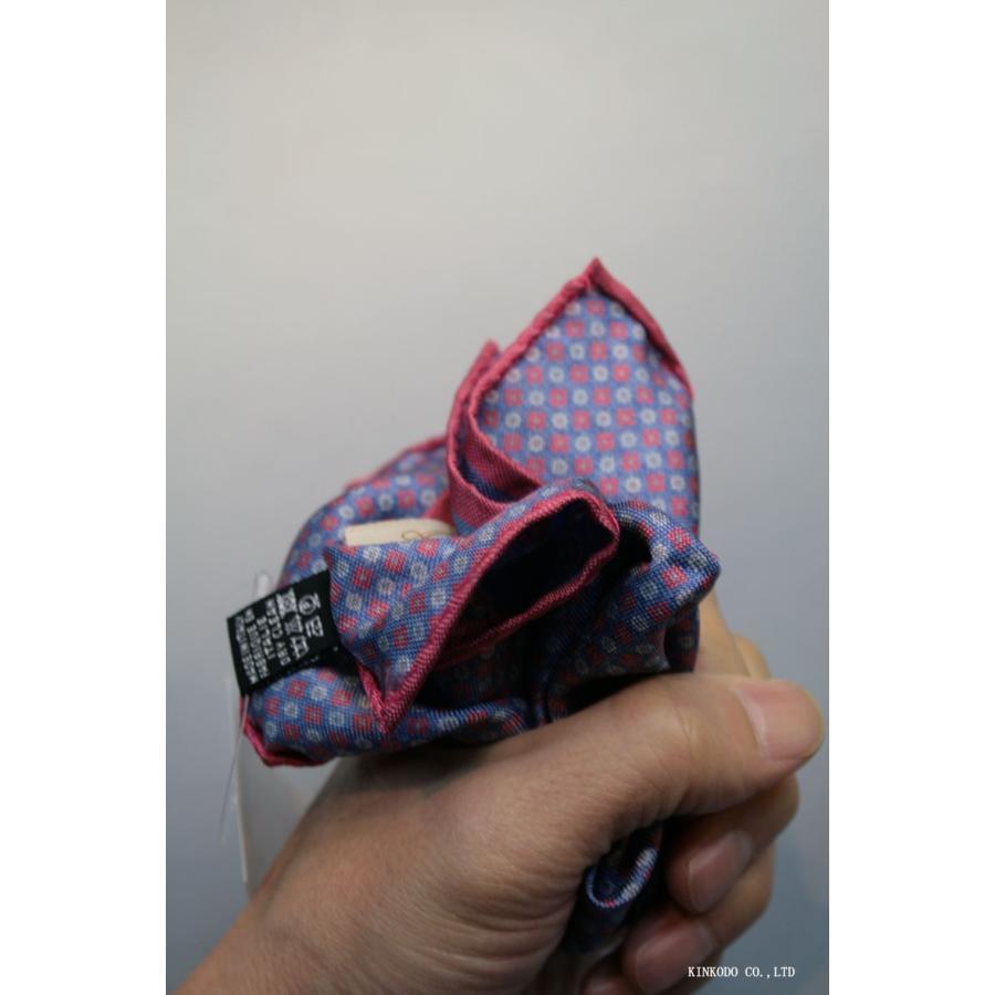 大小の小紋のリバーシブルポケットチーフ赤の縁取りがポイント。 イタリア老舗ネクタイメーカーALBENIアルベニ社製|shop-kinkodo|07
