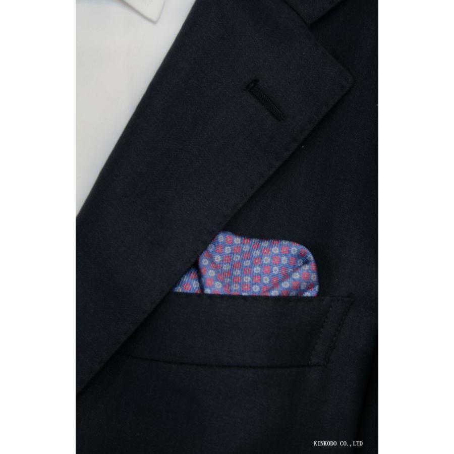 大小の小紋のリバーシブルポケットチーフ赤の縁取りがポイント。 イタリア老舗ネクタイメーカーALBENIアルベニ社製|shop-kinkodo|09