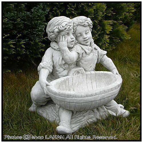 なかよしH59cm(鉢付) イタリア製洋風庭園 石造小型花鉢 / イタルガーデン社 PU8104