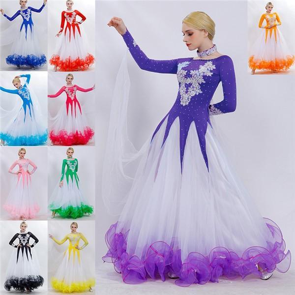全10色 社交ダンス 衣装 モダンドレス ラテンドレス ラテン 社交ダンスドレス 大きい裾 豪華 ダンス発表会 舞台