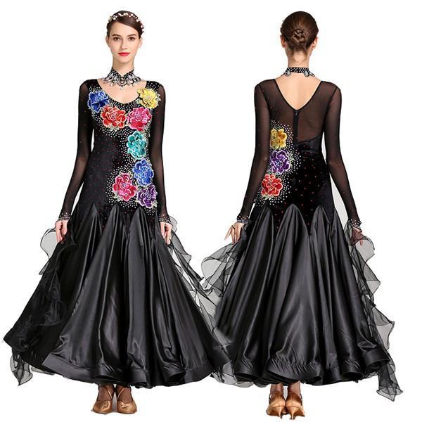 社交ダンス 衣装 モダンドレス ラテンドレス 華なドレス 社交ダンスドレス 大きい裾 パーティー用 ダンス ラテン ワルツダンス
