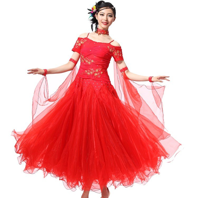 社交ダンス 衣装 レディース モダンダンス 大きい裾 ワンピース ロングスカート 練習着 ドレス 豪華装 タンゴ ワルツdm009f2f2d3