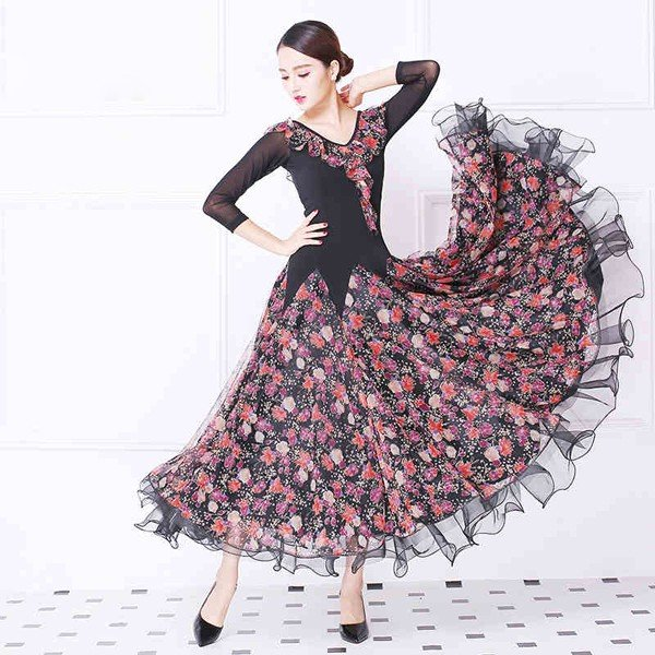 社交ダンス 衣装 花柄 モダンドレス ラテン ダンスウェア 大きい裾 ダンス イベントコスチューム 競技着 舞台 サイズ指定可