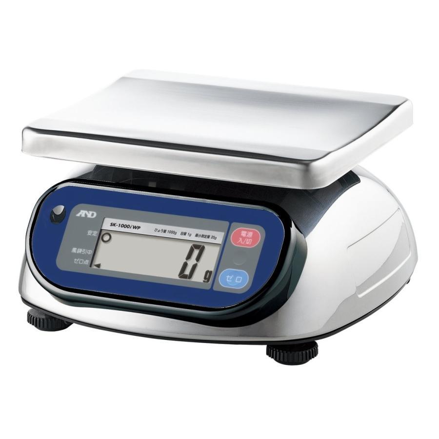 A&D 取引証明用 防塵・防水デジタルはかり SK-1000iWP-A4 ≪ひょう量:1000g 最小表示:1g(使用範囲:20g~1000g) 皿寸