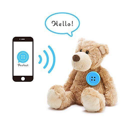 Pechat(ペチャット) ブルー ぬいぐるみをおしゃべりにするボタン型スピーカー【英語にも対応】|shop-nft