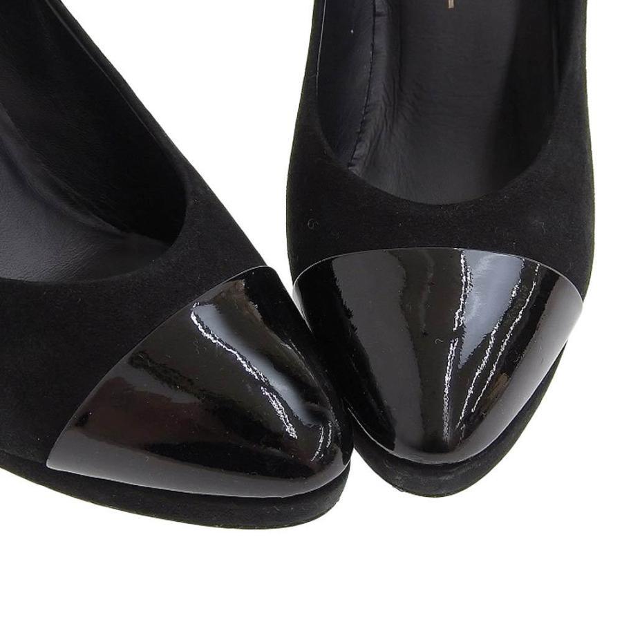 シャネル CHANEL パンプス ヒール ココマーク スエード 黒 サイズ37C ロゴ 靴 レディース 本物保証 美品|shop-takashimaya7|03