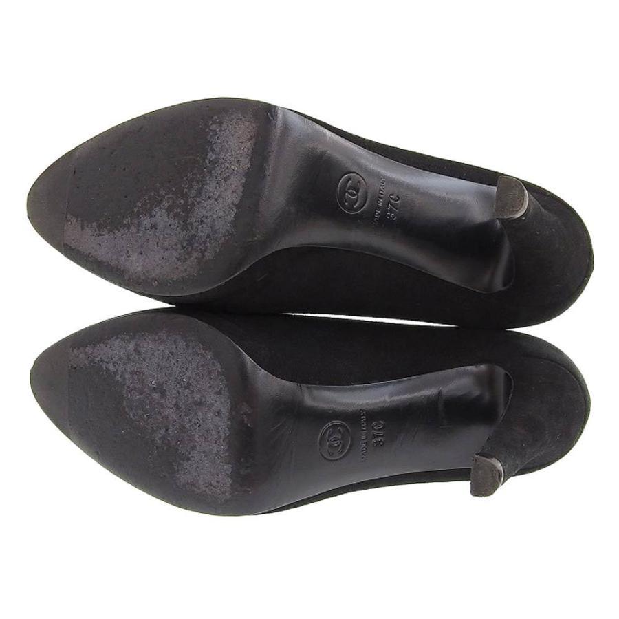 シャネル CHANEL パンプス ヒール ココマーク スエード 黒 サイズ37C ロゴ 靴 レディース 本物保証 美品|shop-takashimaya7|05