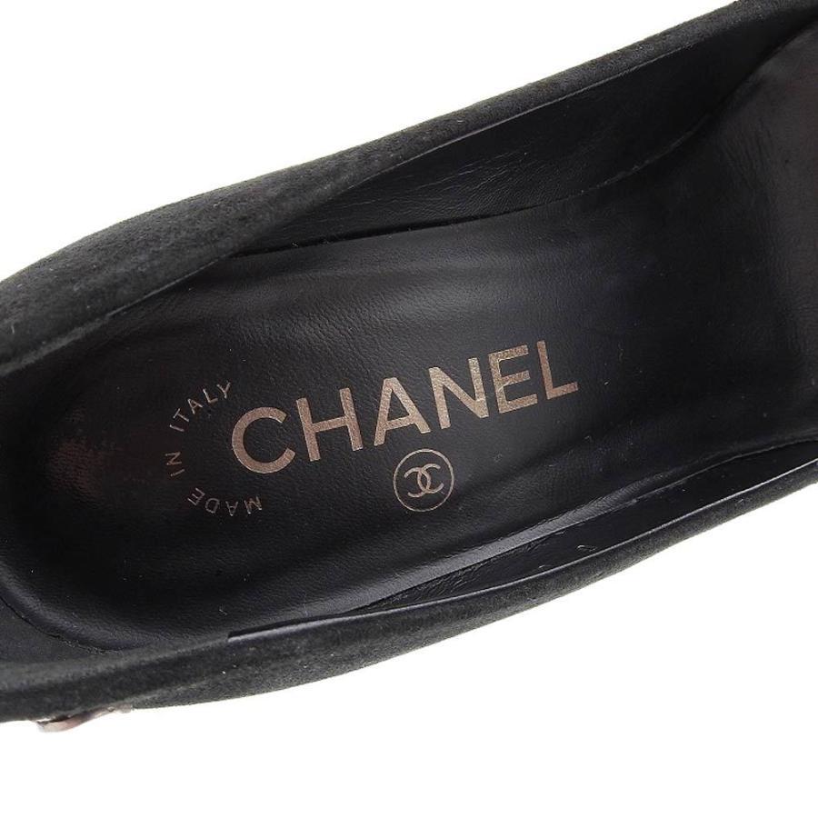 シャネル CHANEL パンプス ヒール ココマーク スエード 黒 サイズ37C ロゴ 靴 レディース 本物保証 美品|shop-takashimaya7|07