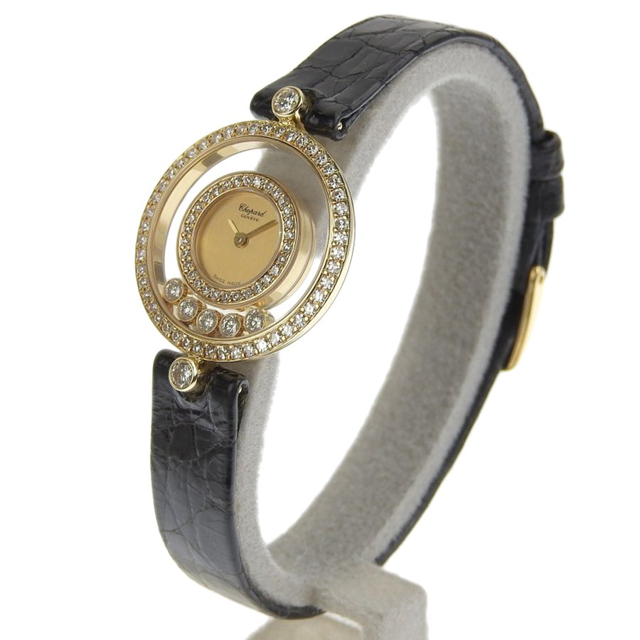 ショパール CHOPARD ハッピーダイヤモンド レディース クォーツ 電池 腕時計 20 3957 約18.5g ベゼルダイヤ ダイヤ5個 本物保証 超美品|shop-takashimaya7|02