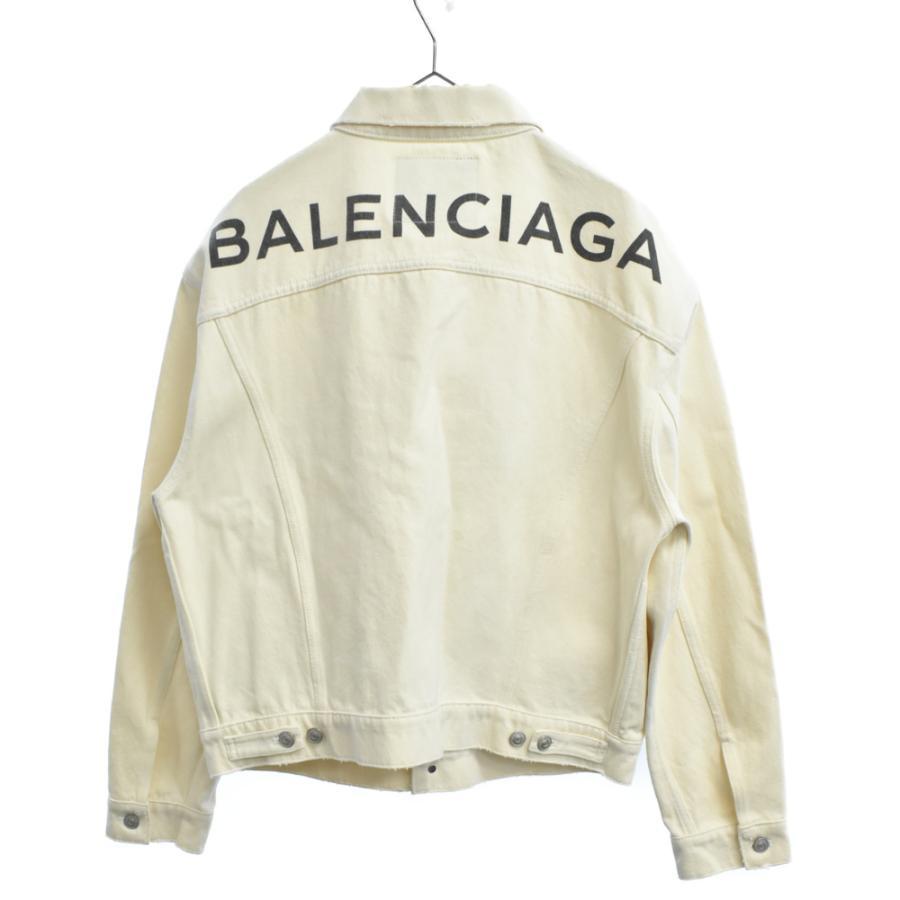 BALENCIAGA (バレンシアガ) 18SS バックロゴ ダメージ加工 デニムジャケット ホワイト 493609