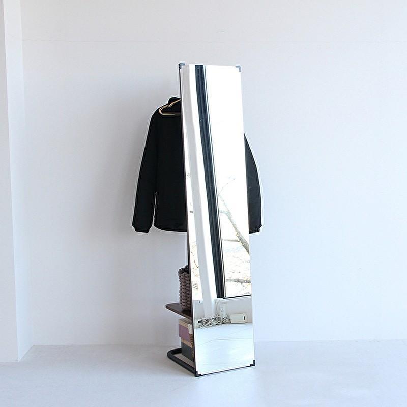 ハンガーラック 姿見 鏡 ミラー ウォールナット 天然木 スチール 収納家具 玄関収納 リビング収納 スタンドミラー 洋服掛け コートハンガー ワンピース|shopfamous