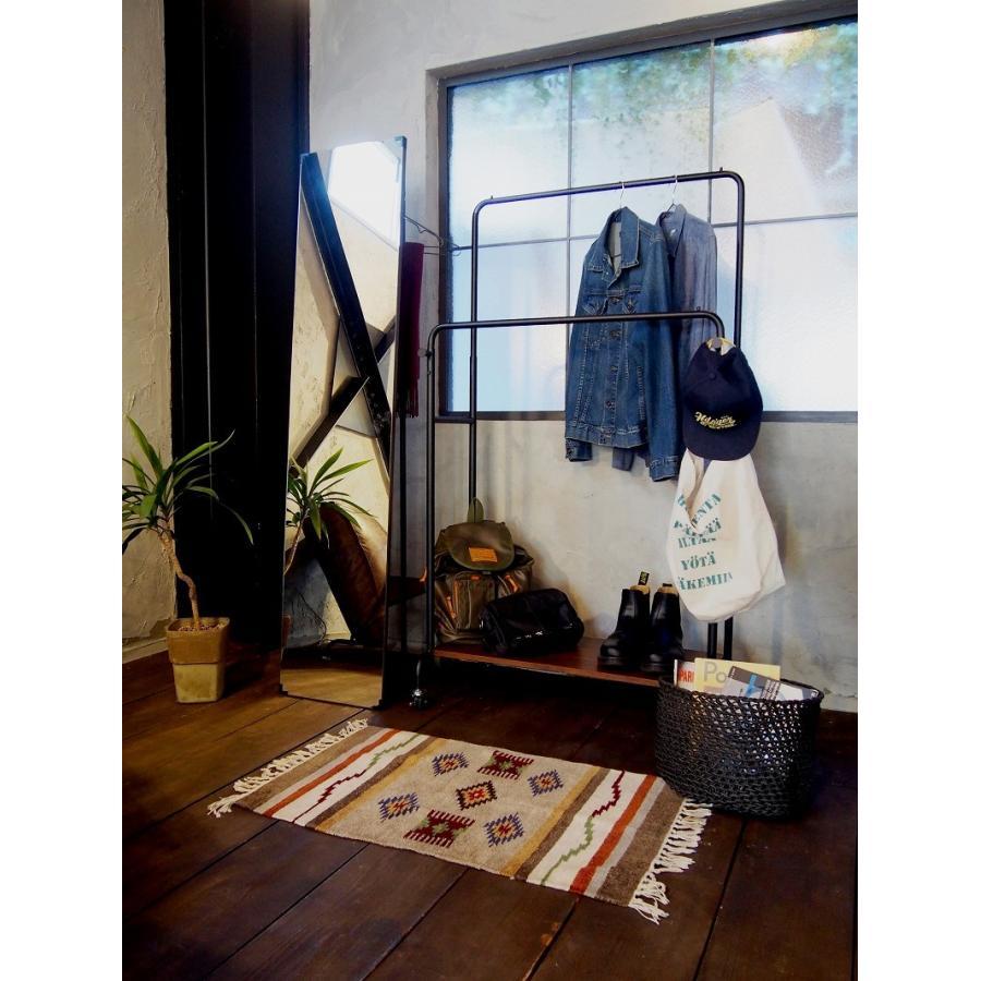 ハンガーラック 姿見 鏡 ミラー ウォールナット 天然木 スチール 収納家具 玄関収納 リビング収納 スタンドミラー 洋服掛け コートハンガー ワンピース|shopfamous|13