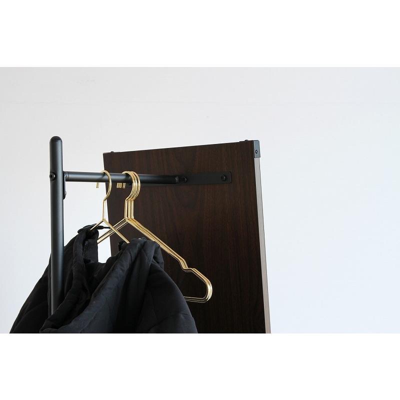 ハンガーラック 姿見 鏡 ミラー ウォールナット 天然木 スチール 収納家具 玄関収納 リビング収納 スタンドミラー 洋服掛け コートハンガー ワンピース|shopfamous|09