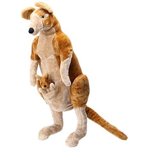 並行輸入品 Melissa & Doug Giant Kangaroo and Baby Joey in Pouch - Lifelike Stuffed Animal (Nearly 3 feet Tall)