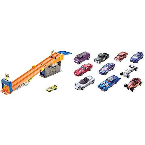 Race to the Finish Line then Pull Into t Hot Wheels Rooftop Race Garage Playset