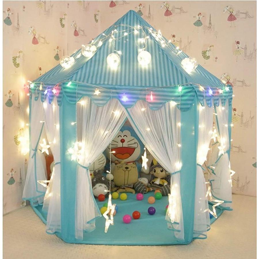 テント キッズテント ボールハウス 子供用テント 子供部屋 室内 室外子供用遊具 小さな星ライト(7.5m、50個)が付き