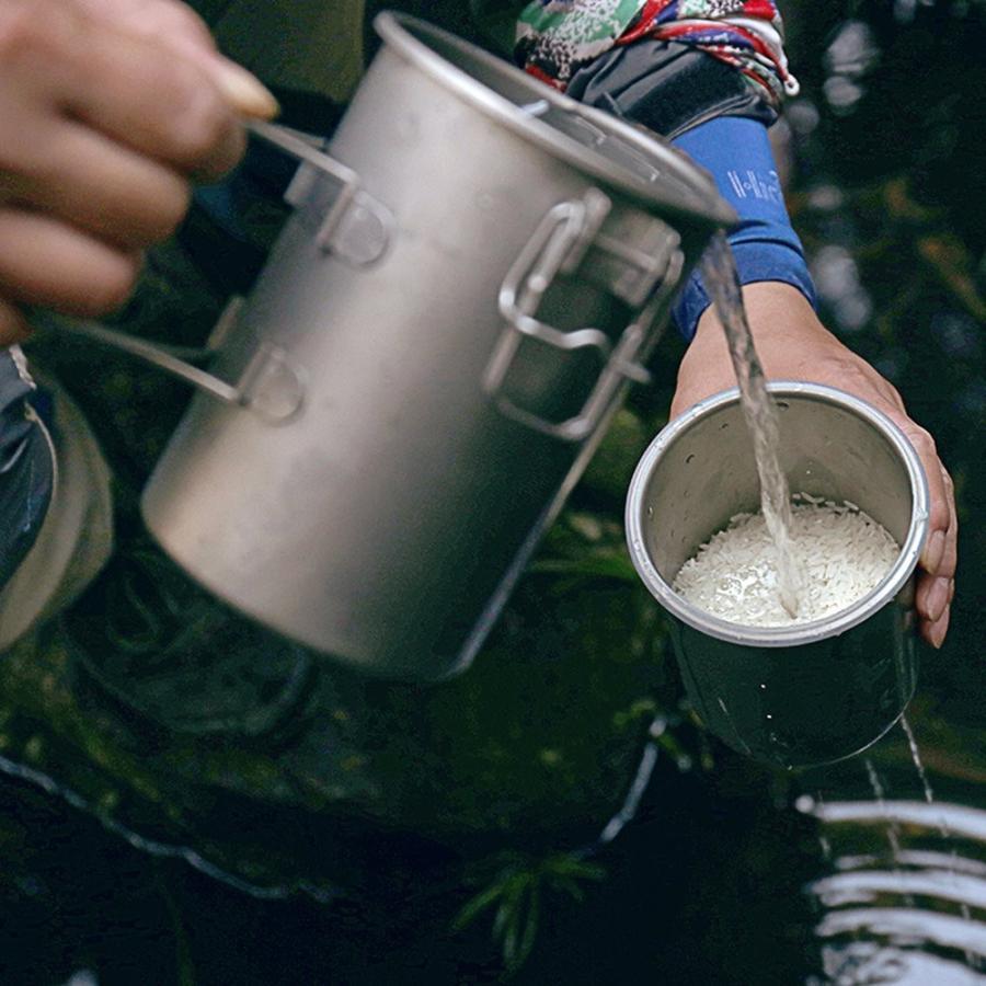 キース Keith クッキングポットチタンライスクッカーケトル沸騰と蒸しクッカーポットクラシック多機能軽量ポータブルキャンプハイキング屋外ク