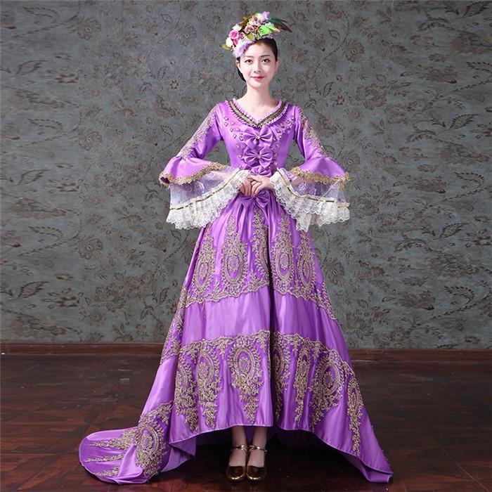ドレス 中世貴族風 ロングドレス お姫様ドレス しりもちドレス 前短後長 テーリングカラードレス 舞台服 ステージ衣装 演劇 ドレス 宮廷服ドレス パープル