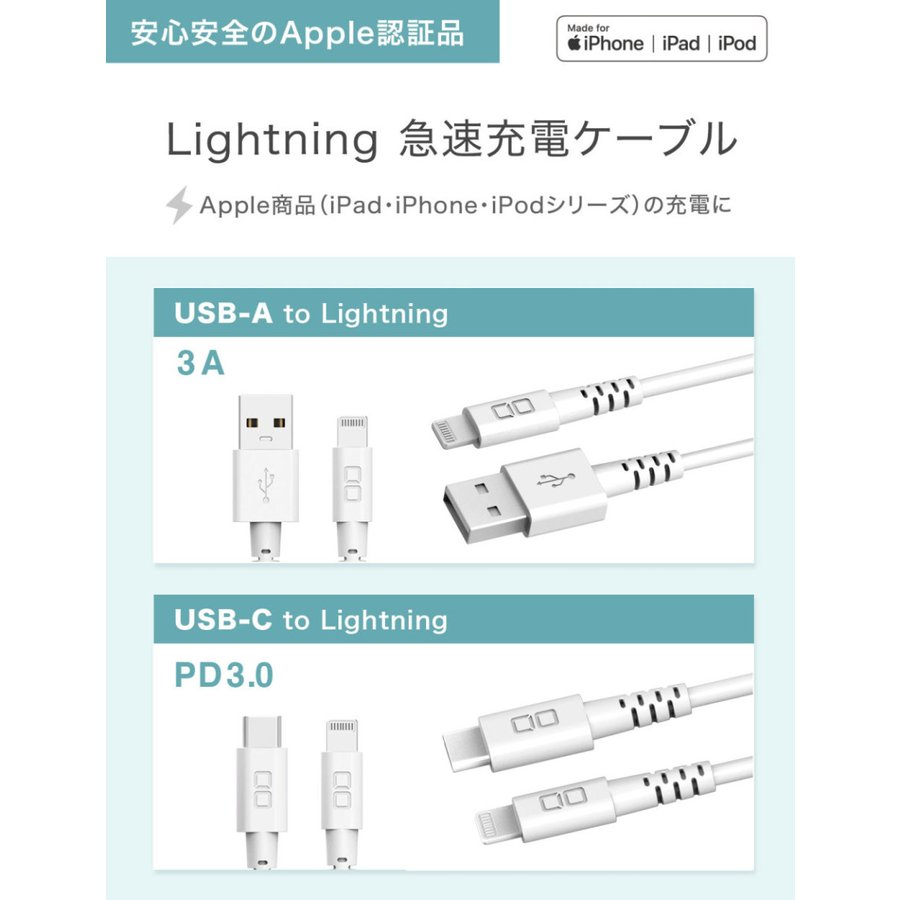 【端子が選べる】iPhone 充電ケーブル USB Type-Cケーブル Lightningケーブル 純正 アンドロイド 急速充電  0.5m 1m 2m apple MFi 認証品 断線 丈夫|shops-of-the-town|04