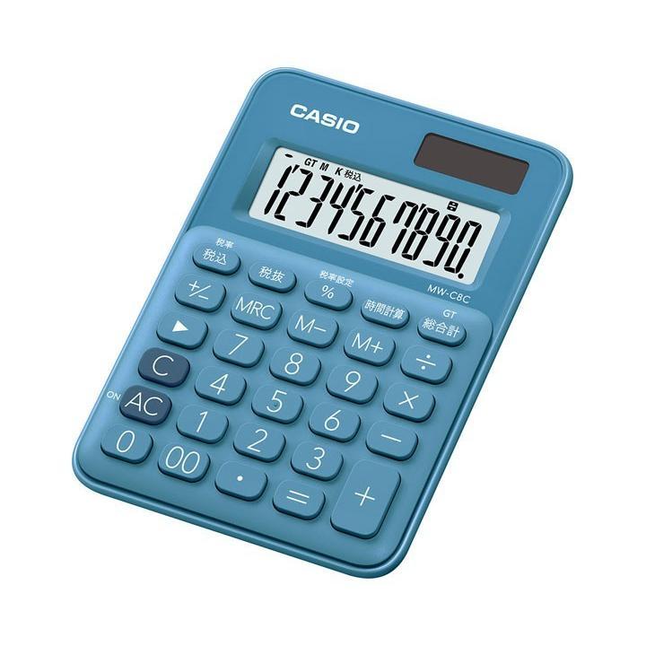 メール便発送 2020 新作 代引不可 買い物 カシオ計算機 10桁 MW-C8C カラフル電卓