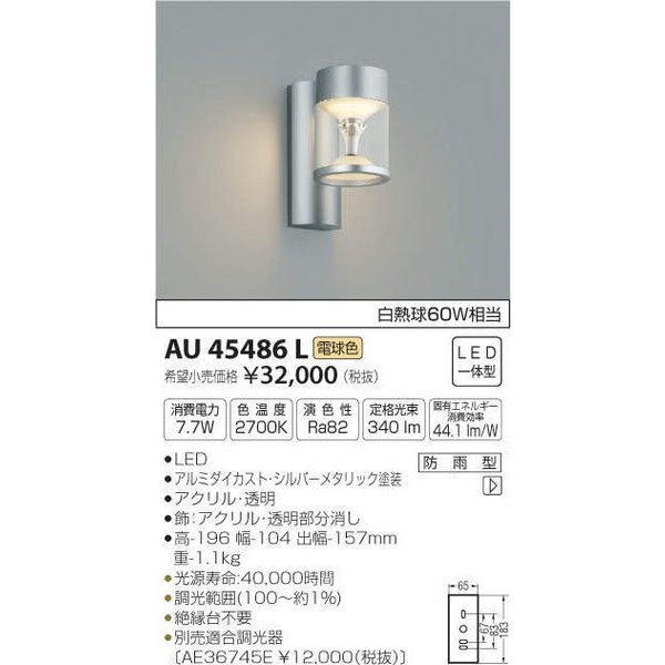 AU45486L コイズミ照明 照明器具 エクステリアライト KOIZUMI_直送品1_