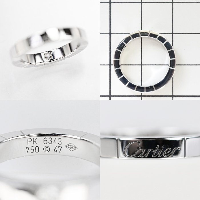 【SH50997】カルティエ ダイヤモンド リング K18ホワイトゴールド ラニエール 1P 7号 #47【中古】|sht-ys|02
