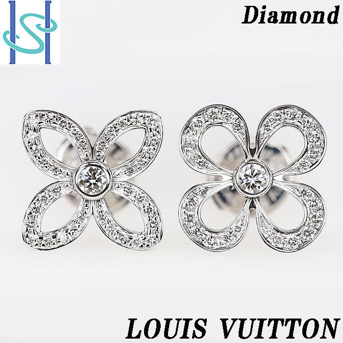 ルイヴィトン ダイヤモンド ピアス K18 ホワイトゴールド ピュス クラッカント 花 フラワー LOUIS VUITTON 中古 SH60147 sht-ys