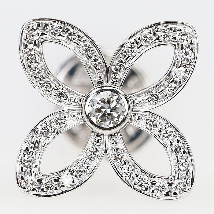 ルイヴィトン ダイヤモンド ピアス K18 ホワイトゴールド ピュス クラッカント 花 フラワー LOUIS VUITTON 中古 SH60147 sht-ys 04