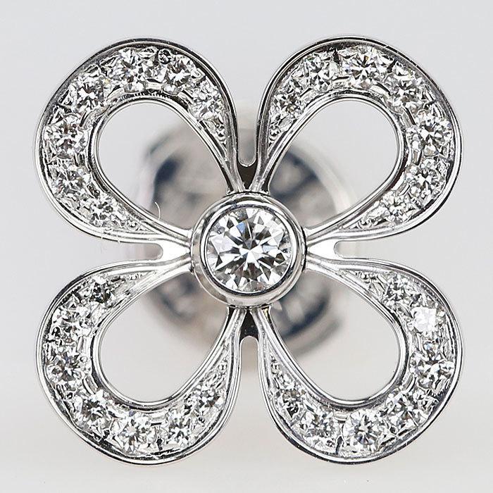 ルイヴィトン ダイヤモンド ピアス K18 ホワイトゴールド ピュス クラッカント 花 フラワー LOUIS VUITTON 中古 SH60147 sht-ys 05