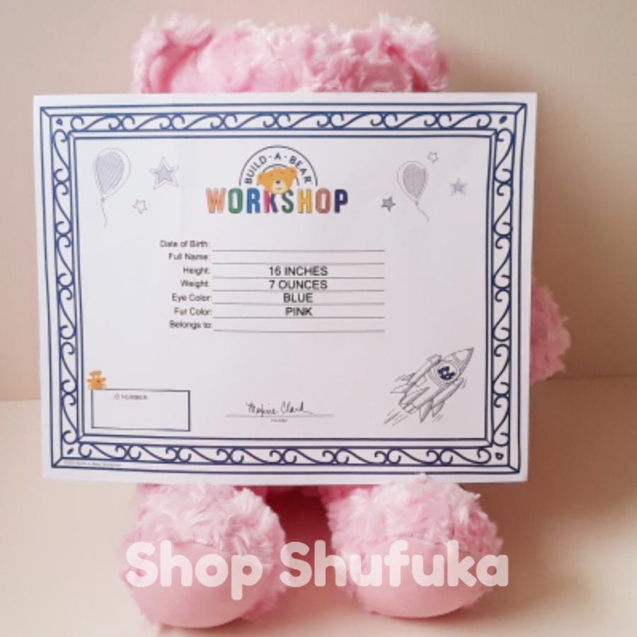 ビルドアベア テディベア ぬいぐるみ ピンク クマ Pink Cuddles Teddy 40cm 出生証明書付き 日本未発売 アメリカ購入 Build A Bear Work Shop shu-fu-ka 06